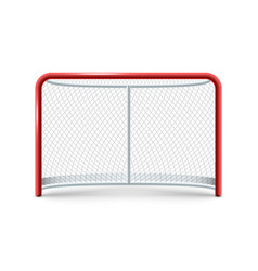 realistic hockey gates icon on the white vector image