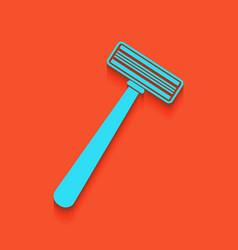 Safety razor sign whitish icon on brick vector