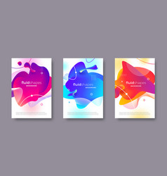 set banners with abstract modern fluid shapes vector image
