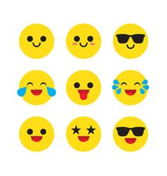 set emoticons emoji vector image