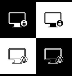 set lock on computer monitor screen icons isolated vector image