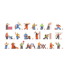 Set male builders with professional equipment vector