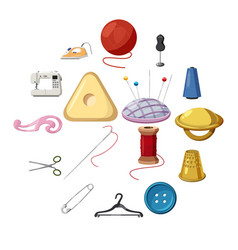 sewing icons set cartoon style vector image