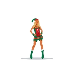 Sexy Girl in suit of Christmas elf sign vector image