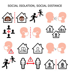 social isolation social distance icons vector image