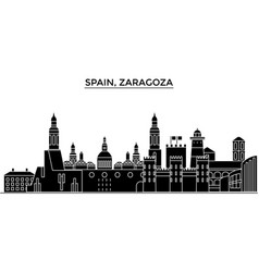 Spain zaragoza architecture city skyline vector