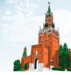 Spasskaya tower moscow kremlin russi vector