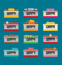 stall sells fast food flat set vector image