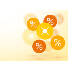 symbol summer percent discounts and blur icon on vector image