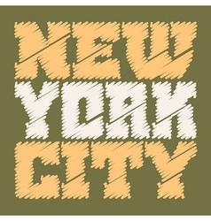 T shirt typography graphics New York drawn green vector