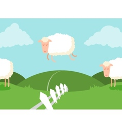 Tileable sheep jumping over the fence vector