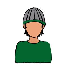 Toung man hacker wear cap concept vector