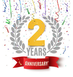 Two years anniversary background vector