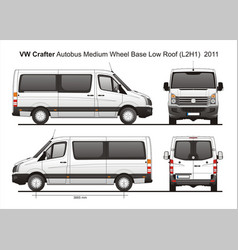 Volkswagen crafter passenger bus l2h1 2011 vector