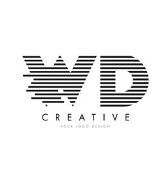 wd w d zebra letter logo design with black and vector image