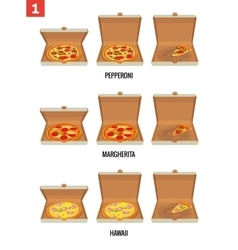 Whole pizza and slices of pizza in open and semi vector image