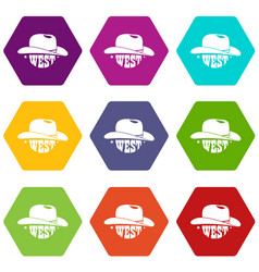 wild west cowboy hat icons set 9 vector image