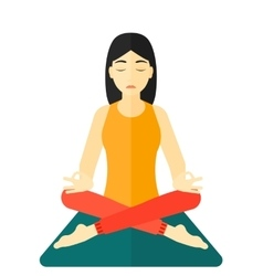 Woman meditating in lotus pose vector image vector image