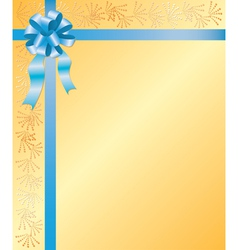 yellow card with blue ribbon vector image