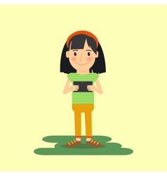Young girl with tablet gadget vector image