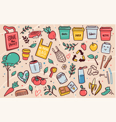 zero waste lifestyle flat set vector image