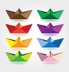 colored paper boats vector image