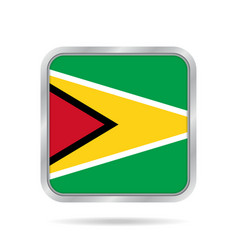 flag of guyana shiny metallic gray square button vector image