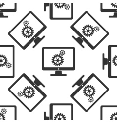 Monitor and gears icon seamless pattern on white vector image