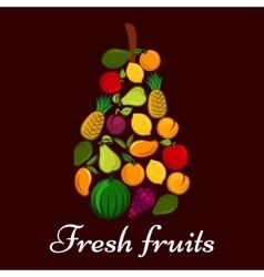 Pear symbol made up of fresh fruits vector image