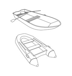 raft and boat flat icon vector image vector image