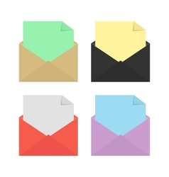 set of four open colored envelopes vector image