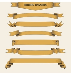 Vintage ribbon banners hand drawn set vector image vector image