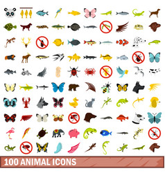 100 animal icons set flat style vector image vector image