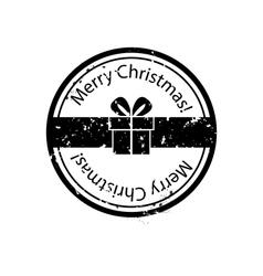 Christmas gift box stamp vector image