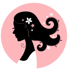 Romance girl floral silhouette in pink circle vector image vector image