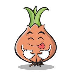 tongue out onion character cartoon vector image