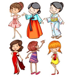 Girls with different attires vector image