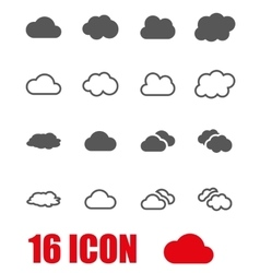 grey cloud icon set vector image