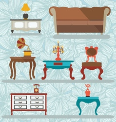 Icons Set Retro interior with a gramophone tables vector image vector image