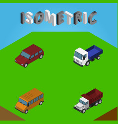 isometric car set of freight lorry car and other vector image