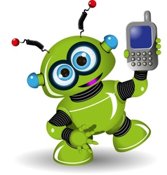 Robot and Phone vector image vector image