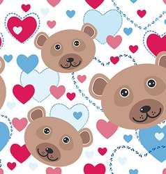 Seamless pattern with funny cute face bear pink vector image