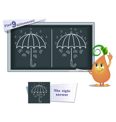 game find 9 differences umbrella vector image
