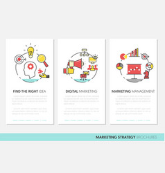 marketing business brochure template linear vector image vector image