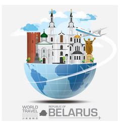 Republic of belarus landmark global travel and vector