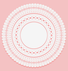 Round napkin on a pink background openwork lace vector
