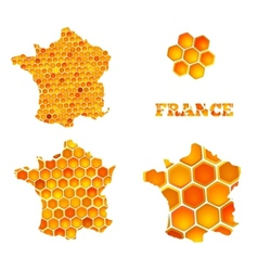 Set of map icons of France with honey cells vector image