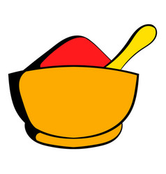 spice in ceramic bowl icon cartoon vector image
