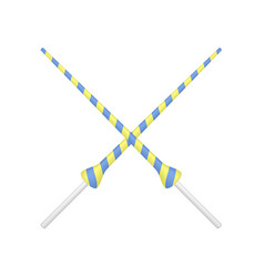 two crossed lances in yellow and blue design vector image