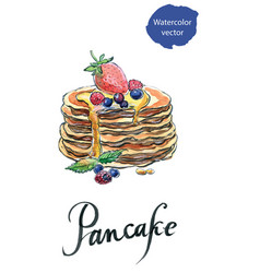 watercolor pancakes with berries and maple syrup vector image vector image